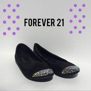 Forever 21 flats black suede sparkly gem shoe 7